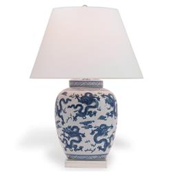 Cannon Global Blue Dragon Motif Porcelain Lucite Table Lamp