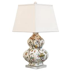 Lin Global Bazaar White Tiger Motif Lucite Base Porcelain Table Lamp