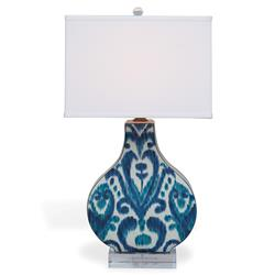 Emily Global Blue Ikat Lucite Ceramic Table Lamp
