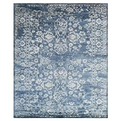 Indi French Blue Ivory Bamboo Silk Rug - 5'6x8'6