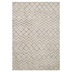 Nisha Global Grey Beige Diamond Tuft Wool Jute Rug - 4x6