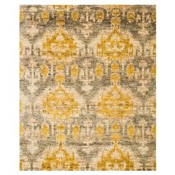 Marigold Global Bazaar Golden Grey Tribal Jute Rug - 5'6x8'6