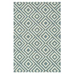 "Drew Modern Diamond Blue Slate Ivory Outdoor Rug - 3'6"" x 5'6"""