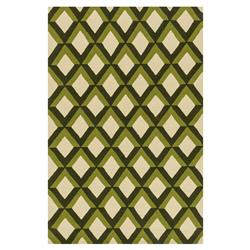 "Sheela Modern Forest Green Trellis Outdoor Rug - 3'6"" x 5'6"""