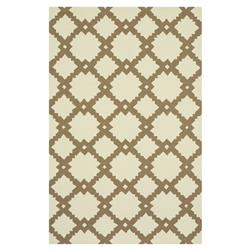 "Veena Modern Classic Ivory Brown Tile Outdoor Rug - 3'6"" x 5'6"""