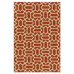 "Jiya Modern Rust Red Polygon Outdoor Rug - 3'6"" x 5'6"""