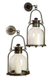 Alta Vista Pair Lime Wash Candle Sconce Lantern | 21207