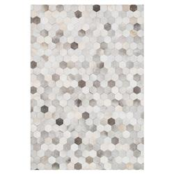 "Ritu Rustic Modern Hexagon Grey Ivory Cowhide Rug - 3'6"" x 5'6"""