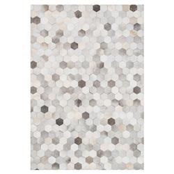 "Loloi Promenade Rustic Modern Hexagon Grey Ivory Cowhide Rug - 7'6""x9'6"""