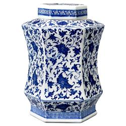 Simi Global Bazaar Blue Floral Key Banded Hexagonal Jar