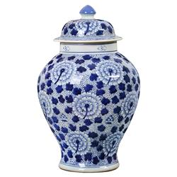 Bungalow 5 Flower Global Bazaar Blue Chrysanthemum Hand Painted Temple Jar