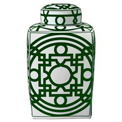 Bungalow 5 Jasper Global Bazaar Green Chinoiserie Fretwork Square Jar