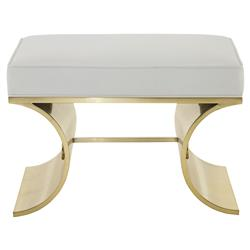 Crawford Hollywood Curved Brass Ivory Bench