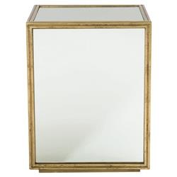 Crawford Mirrored Gold Regency Block End Table