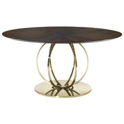 Crawford Hollywood Regency Brass Globe Round Veneer Dining Table