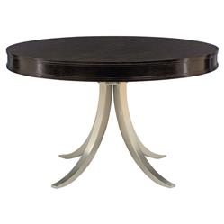 Willa Modern Nickel Black Walnut Round Dining Table