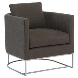 Roger Modern Classic Brown Tweed Round Metal Arm Chair