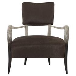 Pietra Regency Grey Horn Brown Leather Armchair