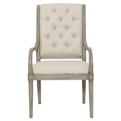Michaela French Country Wood Upholstered Button Tufted Dining Arm Chair