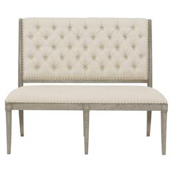 Michaela French Country Wood Upholstered Button Tufted Dining Banquette Bench