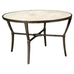 Jane Modern French Stone Top Metal Outdoor Round Dining Table