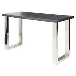 Zinnia Industrial Loft Grey Oak Stainless Steel Console Table