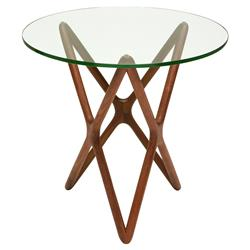 Centauri Mid Century Glass Top Wood Mid Century Base Side Table