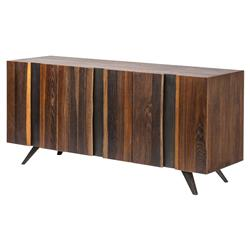 Raine Mid Century Vertical Stria Raw Wood Sideboard Buffet - 63W