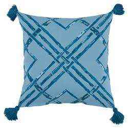 Mumbi Bazaar Powder Blue Bamboo Tassel Outdoor Pillow - 20x20