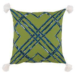 Mumbi Bazaar Green Navy Bamboo Tassel Outdoor Pillow - 20x20