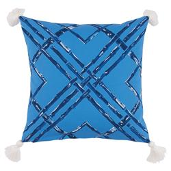 Mumbi Bazaar Bright Blue Bamboo Tassel Outdoor Pillow - 20x20