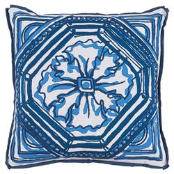 Lydie Coastal Floral Blue Sketch Outdoor Pillow - 20x20