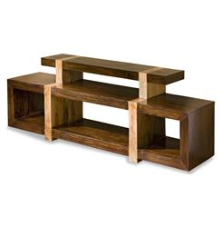 Berkeley Solid Chunky Rustic Wood Media Shelf | 187114
