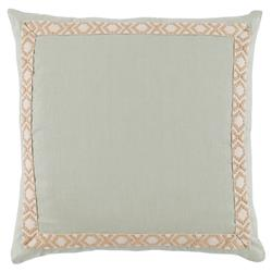 Kaia Global Sea Green Linen Trim Band Pillow - 24x24