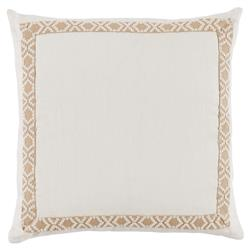 Kaia Global Ivory Linen Trim Band Pillow - 24x24