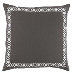 Kaia Global Charcoal Linen Trim Band Pillow - 24x24