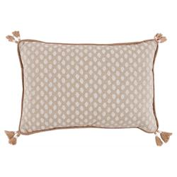 Lacefield Sahara Modern Chalk Burlap Pipe Tassled Lumbar Pillow - 13x19