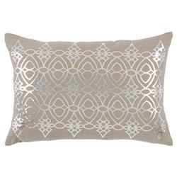 Avril Hollywood Regency Silver Lattice Beige Pillow