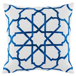 Emmet Modern Embroidered Blue Tile White Pillow - 20x20