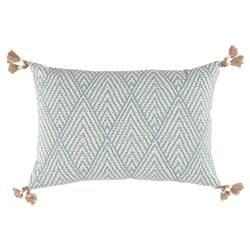 Reni Global Bazaar Sky Blue Stitch Linen Tassel Pillow - 13x19