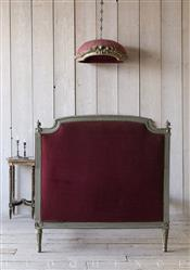 Eloquence Antique Olive French Louis XVI Maroon Velvet Bed 1850 | Kathy Kuo Home