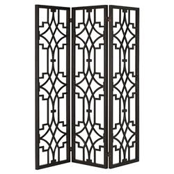 Liadan Global Bazaar Black Wood Open Trellis Floor Screen