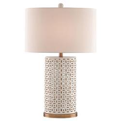 Kerensa Global Beach White Ceramic Fretwork Table Lamp