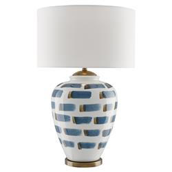 Bryson Modern Classic Blue Brushstoke White Ceramic Table Lamp