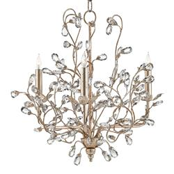 Brietta Modern Fairytale Silver Crystal Bud 3 Light Chandelier