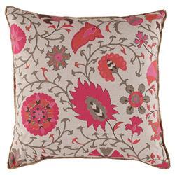 Mimi Modern Pink Flora Beige Linen Pillow - 22x22