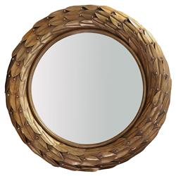 Hermes Global Brown Bronze Laurel Berry Leaf Round Wall Mirror