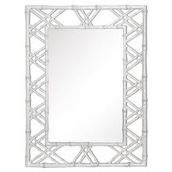 Bungalow 5 Claire Global Bazaar White Lacquer Bamboo Woven Wall Mirror