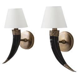 Rosalba Global Bazaar Gilded Horn Wall Sconce - Pair