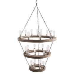 Arteriors Geoffrey Industrial Loft 3 Tier Wood Ring Chandelier